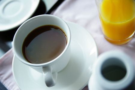 roomservice: cup of coffee and orange juice Stock Photo