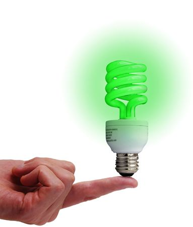 globalwarming: Compact fluorescent bulb on a finger, isolated on white Stock Photo