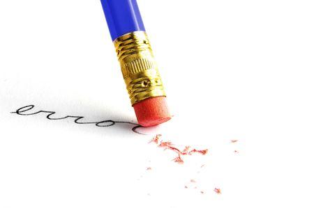 erasing: Pencil erasing an error, on white