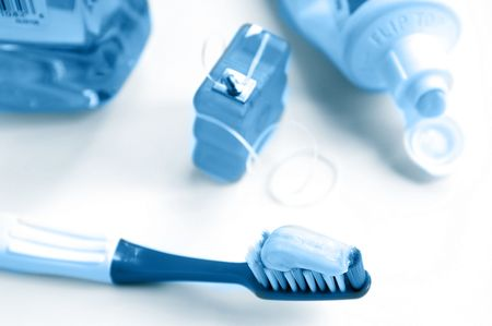 tooth brush and floss, mouthwash and tooth paste
