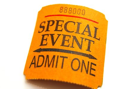 special event ticket closeup, isolated on white Stock Photo