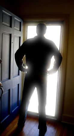 person standing in a bright white doorway Stock Photo - 3361308