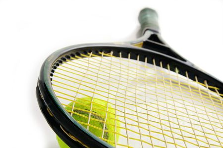 closeup of a tennis racket and ball, on white Stock Photo