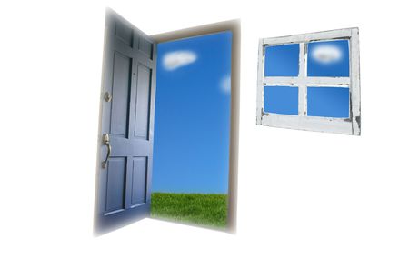 Door opening to green grass and blue sky Stock Photo - 3699262