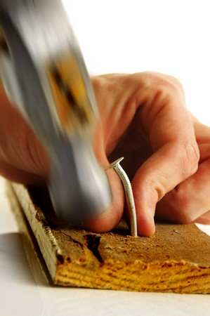 smashing: Hammer smashing thumb Stock Photo