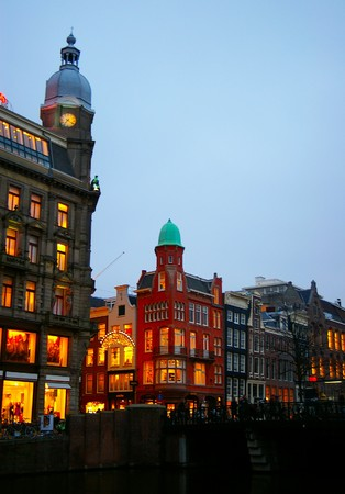 the netherlands: View of Amsterdam, Netherlands, at dusk Stock Photo