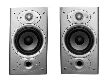 pair of stereo speakers isolated on white background Stockfoto