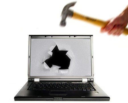 Hitting a PC with a hammer in frustration