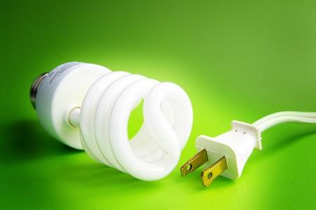 Compact fluorescent light bulb, and plug