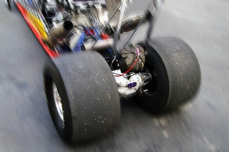 close up of dragster rear tires photo
