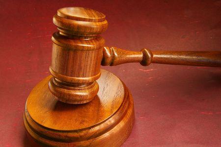 closeup of a judges wooden court gavel