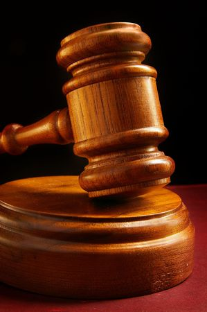 裁判官裁判所木製小槌のクローズ アップ