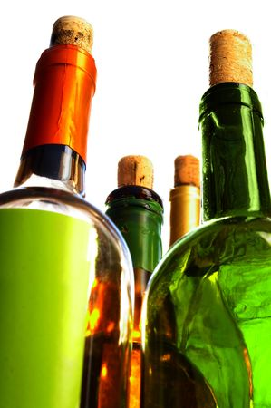 wine bottles with corks shot from below Stock Photo - 4673649