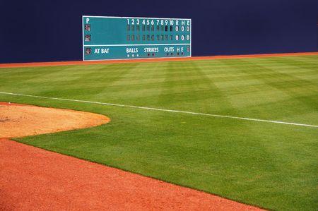 hits: classic baseball scoreboard showing no runs or hits