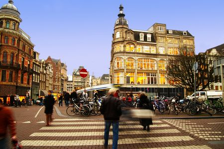 the netherlands: street scene in central Amsterdam, The Netherlands