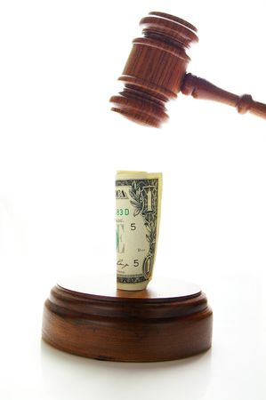 arbitrater: judges law gavel about to pound money, on white