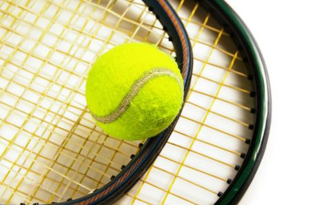 tennis rackets and tennis-ball, on white background