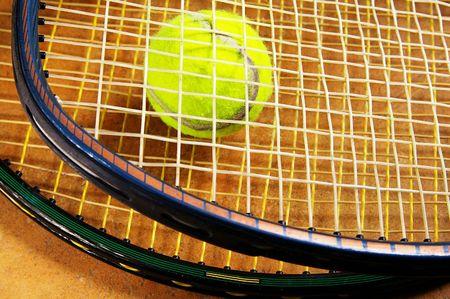 tennis rackets and a tennis ball, closeup Stock Photo