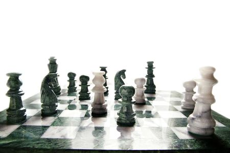 victor: chess pieces arranged on the board, on white