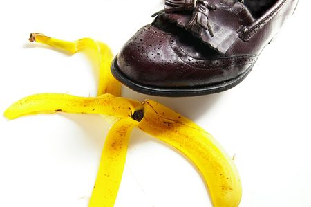 man about to step on a banana peel, from above photo