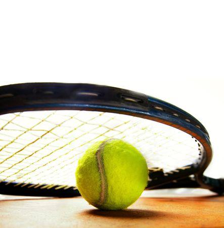 closeup of a tennis racket and tennis-ball Stock Photo