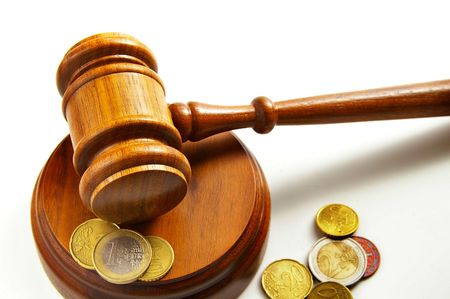 arbitrater: assorted euro coins and a court gavel