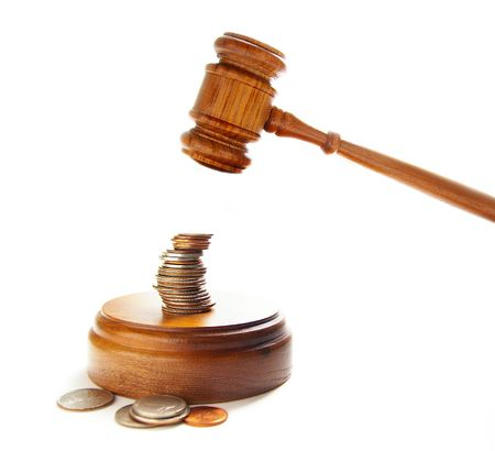 arbitrater: judges court gavel about to pound on money