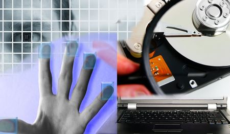 mans eye and assorted PC security images Stock Photo - 5923407