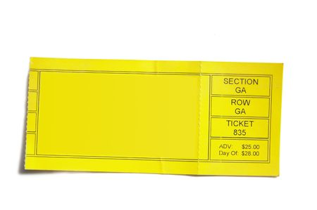 yellow event ticket stub isolated on white background
