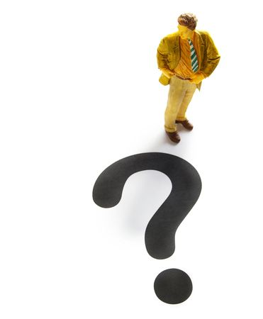 business man figure with a large question mark Stock Photo - 6263675