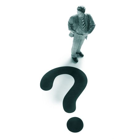 business man figure with a large question mark Stock Photo - 6508179