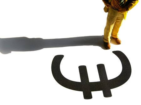 Business man figure standing over a Euro symbol Stock Photo - 6636005