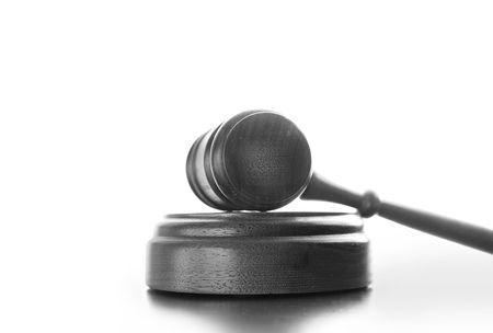 arbitrater: Judges wooden gavel isolated on white background