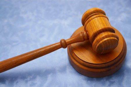 judges legal court gavel, on blue background