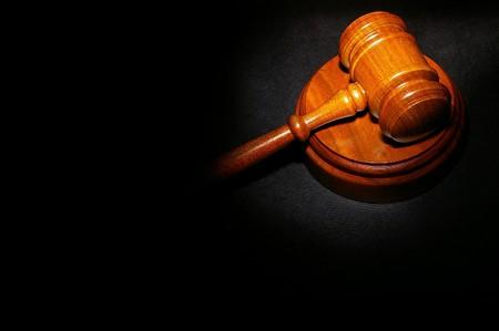 裁判官の法的法律書小槌 写真素材