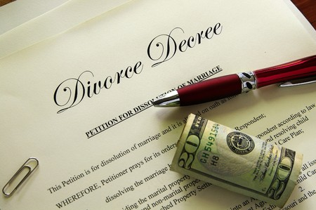divorce court: Divorce papers and cash with misc items
