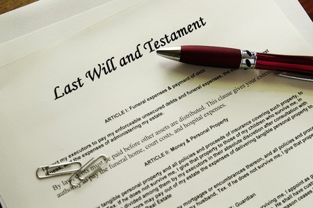 Last Will and Testament documents  with misc items Stock Photo - 7139174