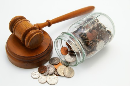 legal court gavel and money from a coin jar Imagens - 7262268