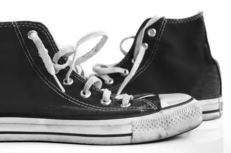 retro sneakers on white photo