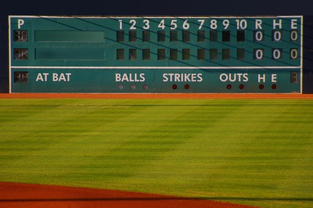 outfield: retro baseball scoreboard with blank Home and Visitor space