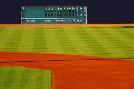campo de beisbol: Retro marcador en el outfield con espacio en blanco de hogar y visitante