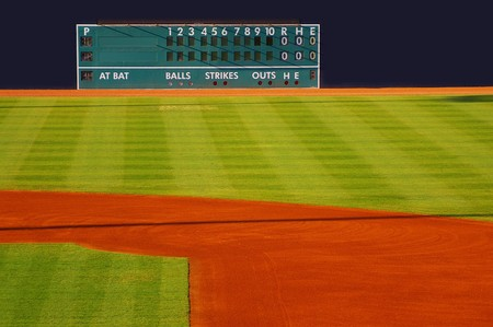 baseball stadium: retro scoreboard in the outfield with blank home and visitor space