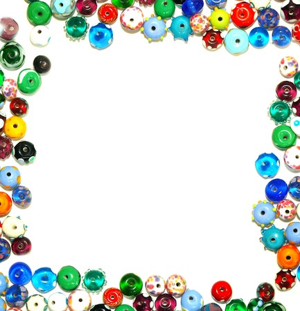 a beads: glass beads forming a border - frame, with white for text