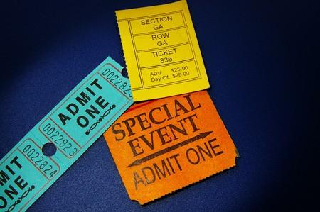 ticket stubs: assorted ticket stubs on blue Stock Photo