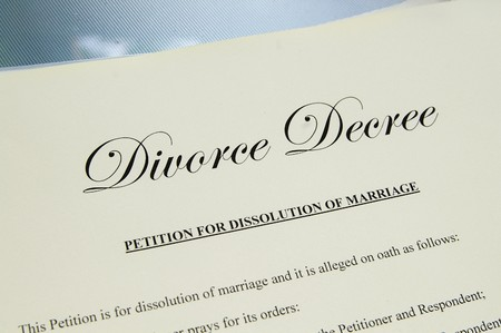 decree: closeup of  legal divorce decree papers Stock Photo