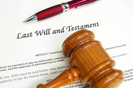 the inheritance: Last Will and Testment document with gavel and pen Stock Photo