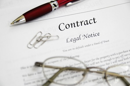 legal contract papers with pen and glasses Stock Photo - 7741352