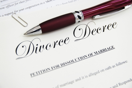 legal divorce papers with pen, closeup Stock Photo