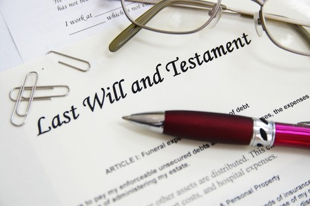 inherit: Last Will and Testament documents, with pen etc