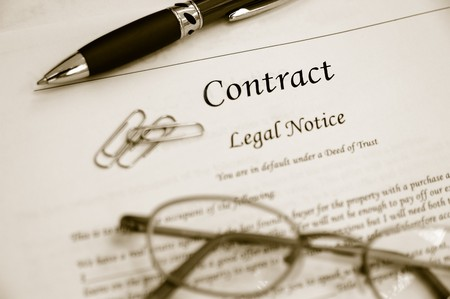 legal contract law papers with pen and glasses Stock Photo - 7741361